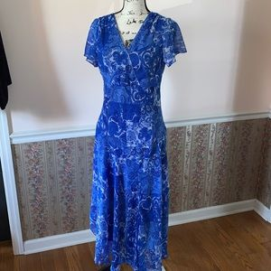 MADISON LEIGH royal blue white asymmetrical dress